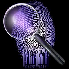 Lupe über Fingerabdruck QR-Code, UV-Licht