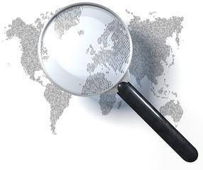 Lupe über Weltkarte in Eins-Null-Raster