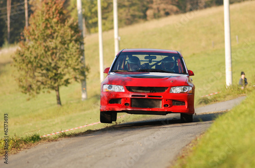 Rally car on two wheels