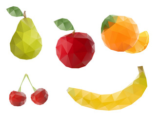 Low-poly triangular style fruits