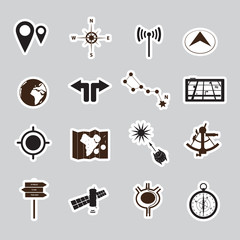 navigation stickers set eps10