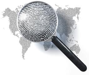 Lupe,  Weltkarte, Eins-Null-Raster, realistischer Fingerabdruck