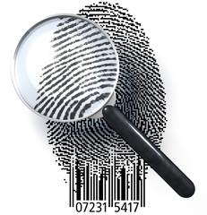 Fingerabdruck QR-Code, Lupe zeigt realistischen Ausschnitt