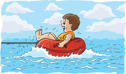 Boy water tubing