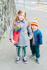 Spring portrait of adorable children