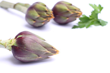 Raw spiny artichokes isolated on white background