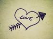 Retro look Love heart