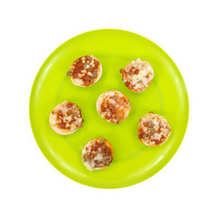 Pizza On Bagels Top View Cooked Plate