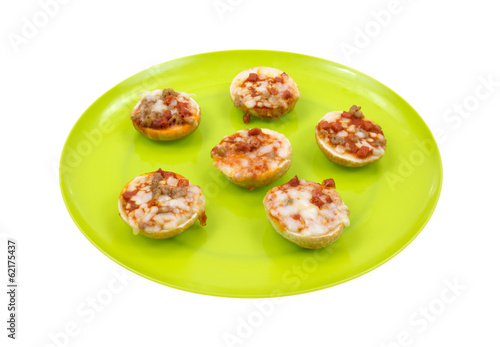 Pizza On Bagels Side View Cooked Plate