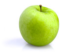 One green apple on a white background