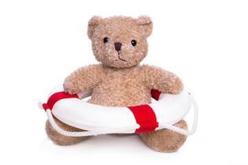 Erste Hilfe oder Teddybär in Seenot - Teddy isoliert