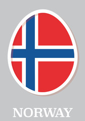 sticker flag of Norway in form of easter egg