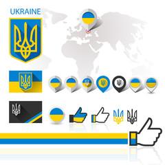 Flag, emblem Ukraine and World map