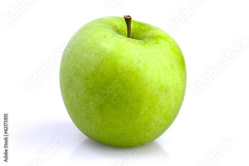 Spoed canvasdoek 2cm dik Keuken One green apple on a white background
