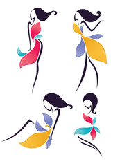 vector collection of girls look like a flowers