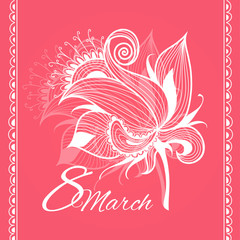 Card 8 march woman's day with grunge background