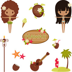 Hawaii vector symbols and icons. Isolated over white
