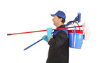 Man holding cleaning supplies.