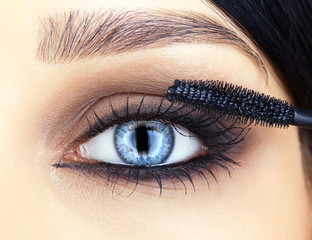 close-up shot of woman eye makeup