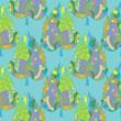 Batik Leaves Seamless Pattern