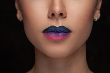 Beautiful Perfect Lips. Sexy Mouth close up. Beauty young