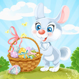 Easter Bunny with basket of eggs on the green lawn