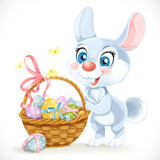Cute Easter Bunny with a basket of eggs