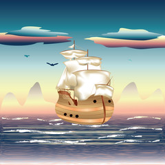 Sailing Ship on the Sea