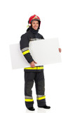 Fireman holding banner under the arm