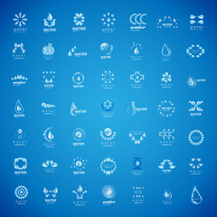 Water And Drop Icons Set - Isolated On Blue Background
