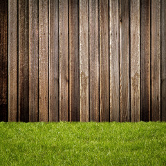 Grass on Wooden Wall