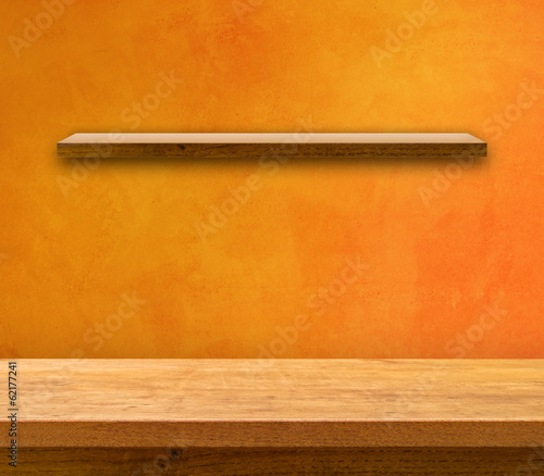 Kitchen Table on Orange Wall with Shelf