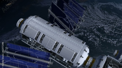Space station with solar panels and modular architecture