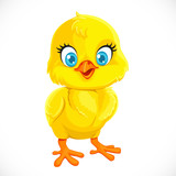 Cute yellow cartoon baby chicken