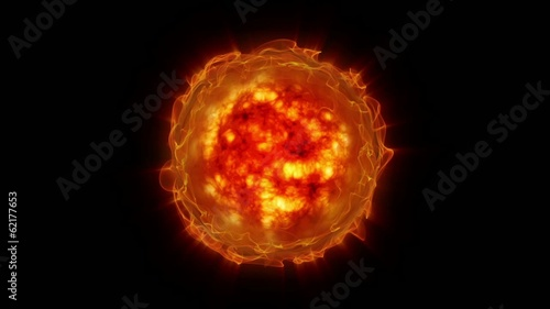Computer generated Sun and solar activity with eruptions