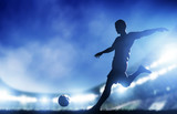 Football, soccer match. A player shooting on goal poster
