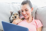 Pretty woman using tablet with her yorkshire terrier