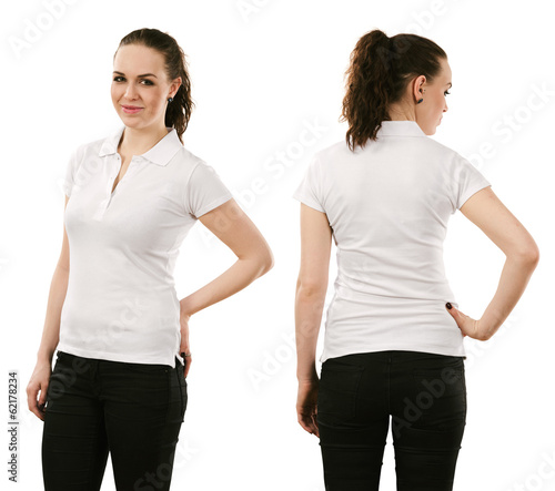 Smiling woman wearing blank white polo shirt