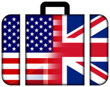 Suitcase with USA and UK Flag