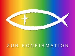 Konfirmationskarten-Design mit Fischsymbol in Regenbogenfarben