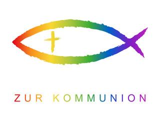 Kommunionskarten-Design mit Fischsymbol und Grußtext