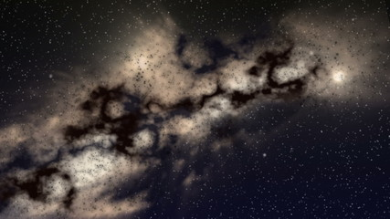 Zoom on an interstellar cloud with star clusters