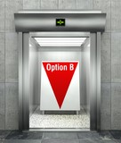 Business option B. Modern elevator with red down arrow