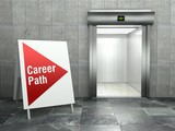 Career path. Modern elevator with open door