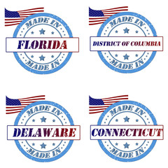 Set of stamps with made in florida,delaware,connecticut