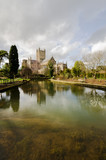 Wells Cathedral reflected in water, Bishop's palace gardens