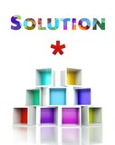 Creative solution, colorful 3d design illustration