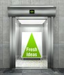 Fresh ideas. Modern elevator with open door