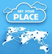 Get your place over communication world map