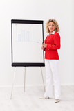 Business woman with flipchart presentation